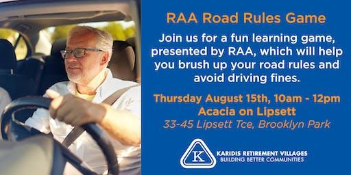 RAA Road Rules Quiz Game