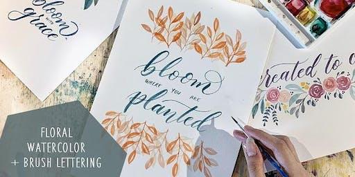 Calligraphy Workshop: Floral Watercolor + Brush Lettering