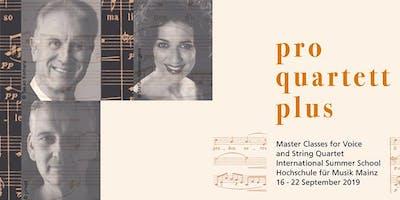 Singing Summer 2019: Abschlusskonzert I des Meisterkurses PRO QUARTETT PLUS / Gesang und Streichquartett