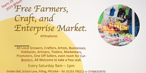 **FREE STALLS** FARMERS, CRAFT and ENTERPRISE MARKET
