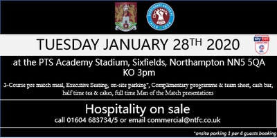 SCUNTHORPE UNITED HOSPITALITY AT NORTHAMPTON TOWN FOOTBALL CLUB