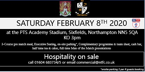 PORT VALE HOSPITALITY AT NORTHAMPTON TOWN FOOTBALL CLUB