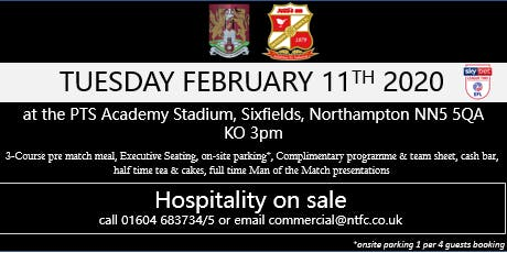 SWINDON TOWN HOSPITALITY AT NORTHAMPTON TOWN FOOTBALL CLUB tickets