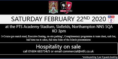 EXETER CITY HOSPITALITY AT NORTHAMPTON TOWN FOOTBALL CLUB