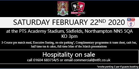 EXETER CITY HOSPITALITY AT NORTHAMPTON TOWN FOOTBALL CLUB tickets