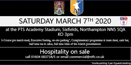 MANSFIELD TOWN HOSPITALITY AT NORTHAMPTON TOWN FOOTBALL CLUB tickets