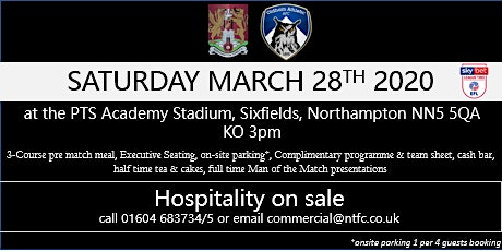 OLDHAM ATHLETIC HOSPITALITY AT NORTHAMPTON TOWN FOOTBALL CLUB tickets