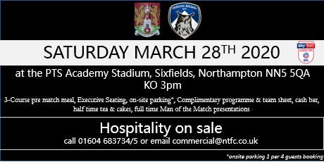 OLDHAM ATHLETIC HOSPITALITY AT NORTHAMPTON TOWN FOOTBALL CLUB