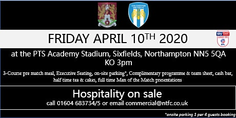 COLCHESTER UNITED AT NORTHAMPTON TOWN FOOTBALL CLUB tickets
