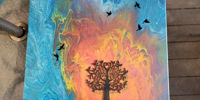 Tree of Peace & Love Acrylic Pour Painting Class