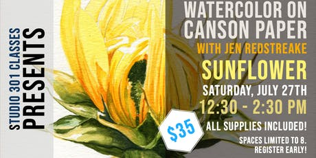 Watercolor on Canson Paper with Jen Redstreake:: SUNFLOWER! tickets