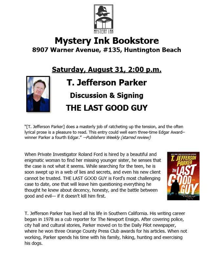 T  Jefferson Parker - Author Signing and Discussion, THE LAST GOOD