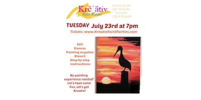 Paint party- Tuesday July 23rd at 7pm at the Kreativ Studio