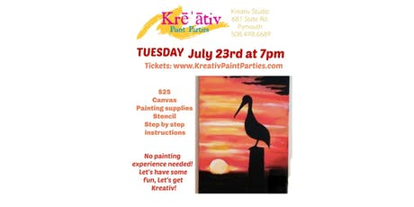 Paint party- Tuesday July 23rd at 7pm at the Kreativ Studio  tickets