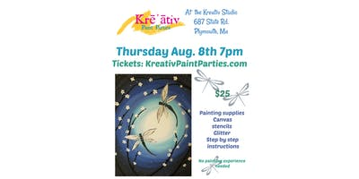 Dragonfly paint party- Thursday August 8th at 7pm - Kreativ Studio