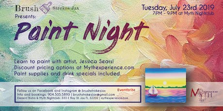 Brush Strokes | A Paint Night at Myth Nightclub - Tuesday, July 23rd 2019 tickets