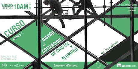 CURSO: Diseño + Cotización de Cristal y Aluminio  boletos