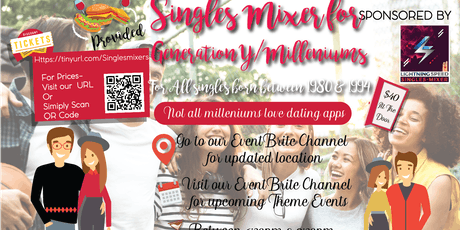 """""""Millenniums (Generation Y) Singles Get2gether"""": Not all Millenniums love dating apps tickets"""