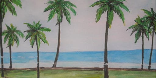 "Grumbacher Watercolor Class; Seascape ""Palms at the Beach"""