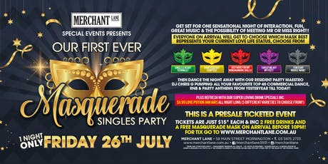 Masquerade Singles Party at Merchant Lane! tickets