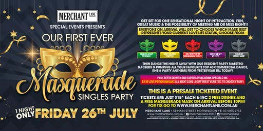 Masquerade Singles Party at Merchant Lane!