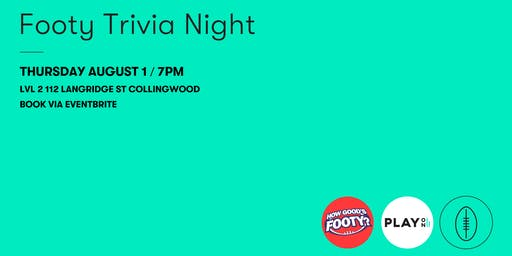 Play On Radio & How Good's Footy? Footy Trivia Night