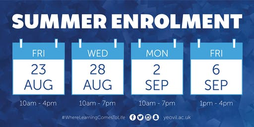 Summer Enrolment | 2nd September