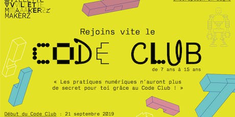 Code Club @Villette Makerz (saison 2019-2020) tickets
