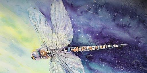 Iridescent Dragonflies in Watercolour Workshop