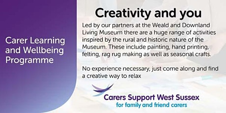***CANCELLED***Carer Workshop:  Creativity and You - Chichester tickets