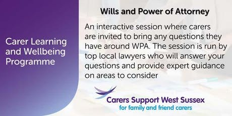 Carer Workshop:  Wills and Power of Attorney - Shoreham tickets