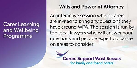 ***CANCELLED***Carer Workshop:  Wills and Power of Attorney - Littlehampton tickets