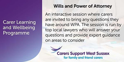 Carer Workshop:  Wills and Power of Attorney - Worthing