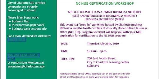 NC HUB CERTIFICATION WORKSHOP