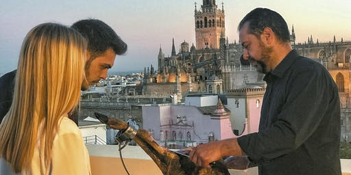 LiveCarving Spanish Ham in hidden rooftop