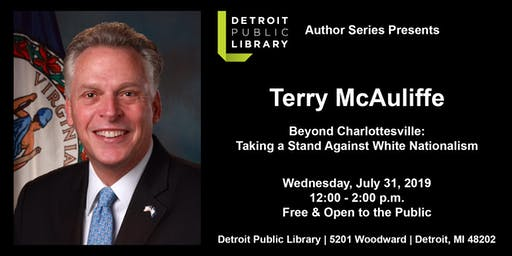 DPL Author Series Presents Terry McAuliffe; Beyond  Charlottesville