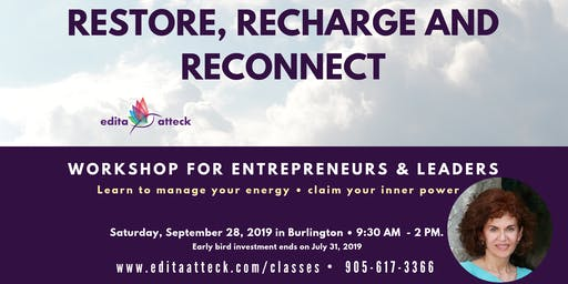 RESTORE, RECHARGE AND RECONNECT workshop for high-performers