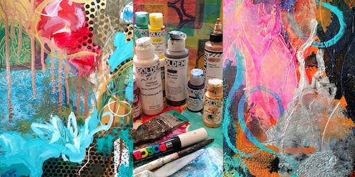 Abstract Painting Adventure with Metallics