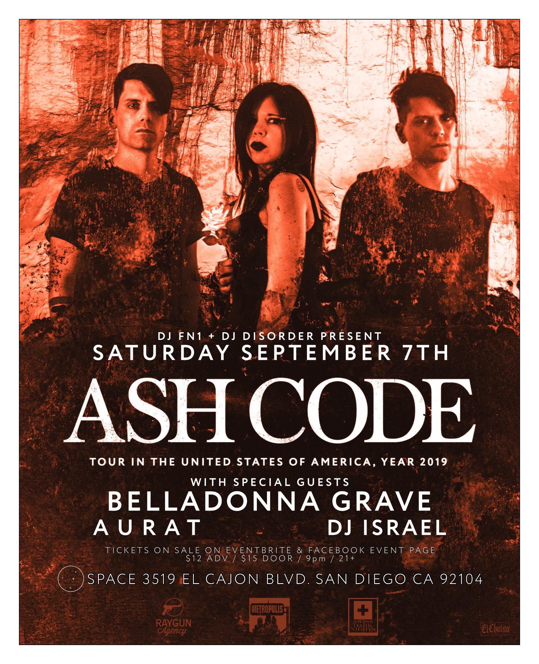 Ash Code, Belladonna Grave, Aurat, at SPACE in San Diego 9-7-2019