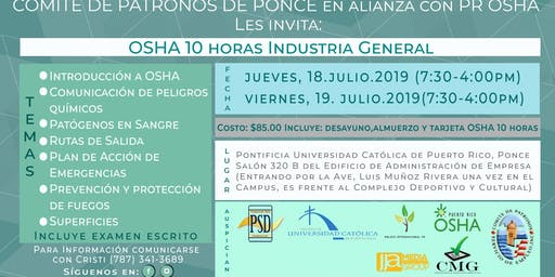 OSHA 10 HORAS INDUSTRIA GENERAL