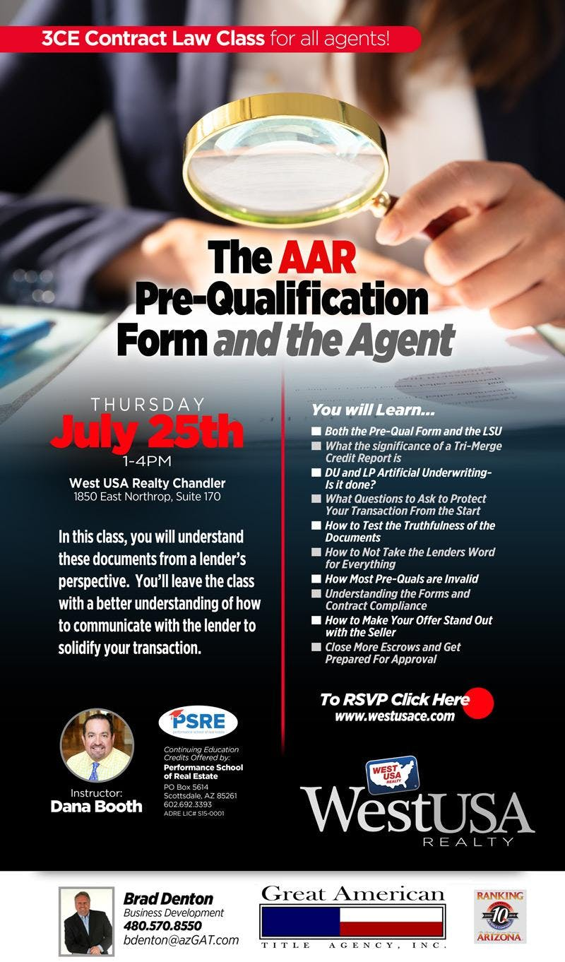 The AAR Pre-Qualification Form and the Agent - (3 CE - Contract Law)