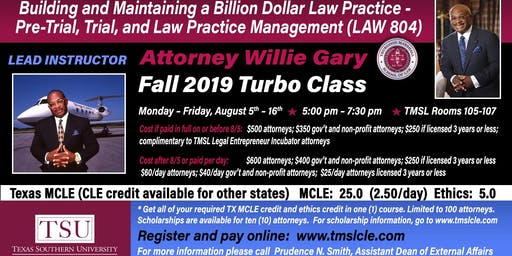 Attorney Willie Gary Presents:  Maintaining a Billion Dollar Law Practice - Pre-Trial, Trial, and Law Practice Management