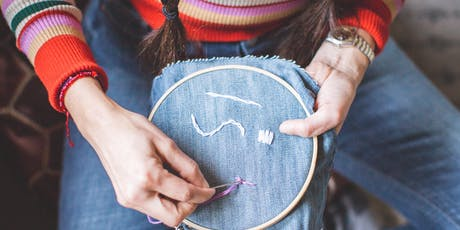 Drawing with String: A Beginners Embroidery Workshop with Lil Weavy Handwoven tickets