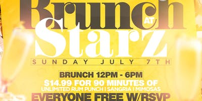 $14.99 Unlimited Drinks Brunch At Starz Lounge