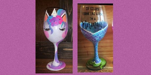 Mermaids & Unicorn Wine Glass Paint Night and Sushi Spread