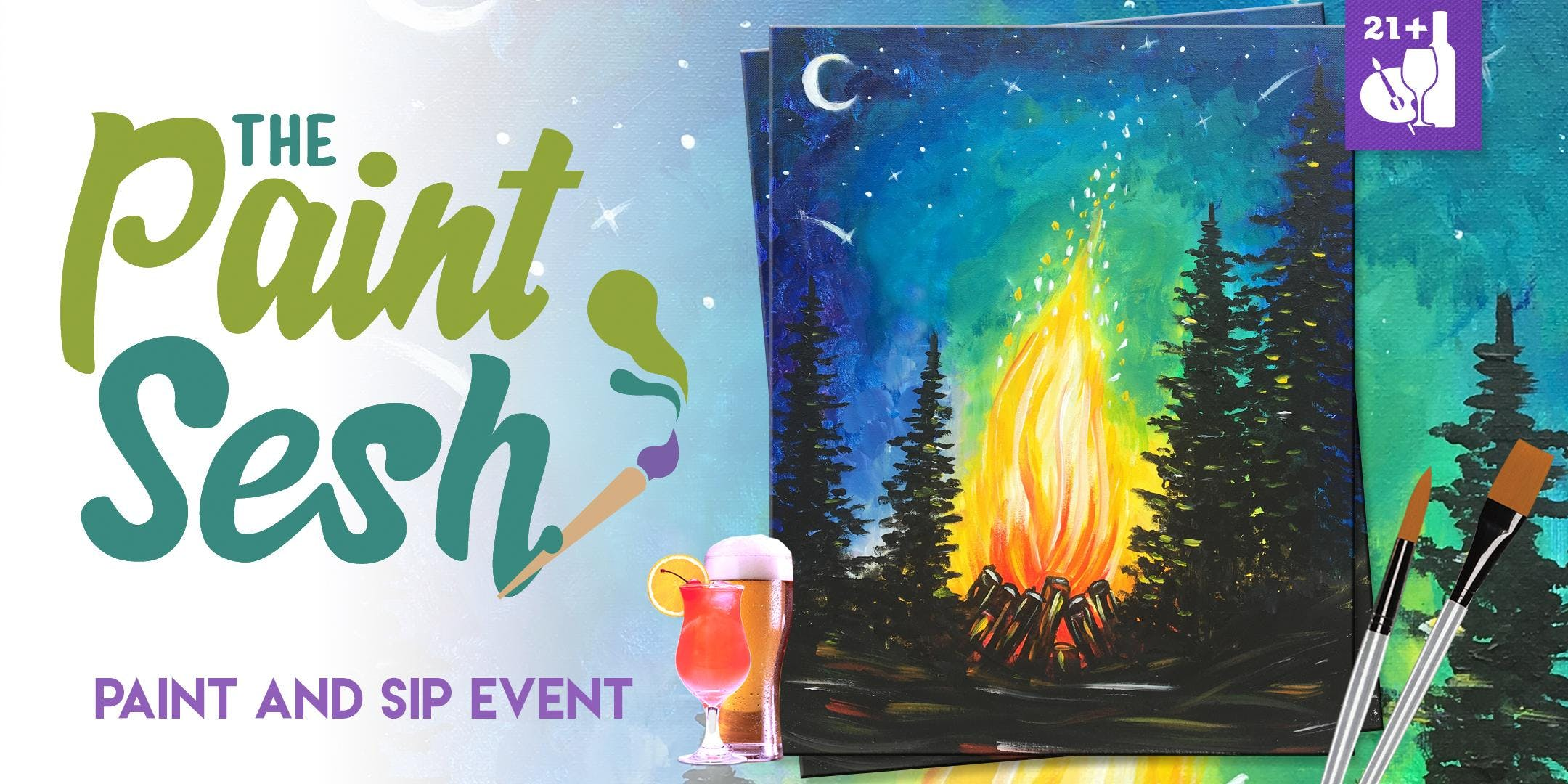 "Paint Night in Riverside, CA - ""Campfire"""