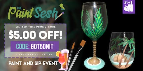 "Paint Night in Riverside, CA - ""Palm Trees"" Wine Glass Set tickets"