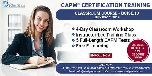 CAPM® Certified Associate in Project Management Certification Exam Prep Training Course in Boise, ID, USA.