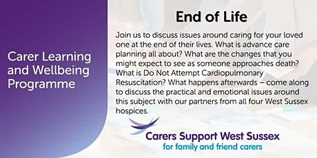 ***CANCELLED***Carer Workshop:  End of Life - Crawley tickets