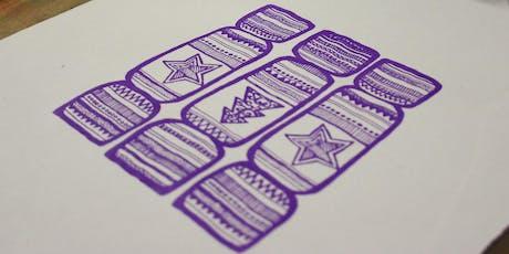 Lino Printing Christmas Cards tickets